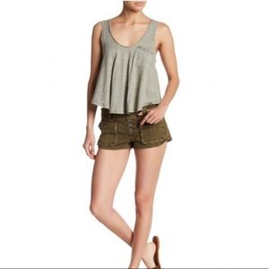 Free People 'Cora' Button Fly Shorts in Moss